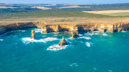 campbell : Aerial view of shipwreck coast on the Great Ocean Road in Victoria, Australia famous attraction of the Port Campbell National Park cinemagraph.