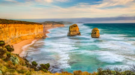 australian landscape : Top view cinemagraph of Gibson Steps by the Twelve Apostles in Port Campbell National Park on the Great Ocean Road, Victoria state, Australia.