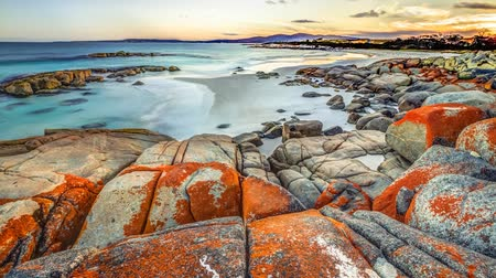 tasmania : Loop cinemagraph background of Bay of Fires consevation Area ranging from Binalong Bay to Eddystone Point, east coast of Tasmania in Australia. Stock Footage