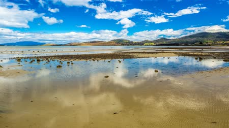 tasmania : Spectacular low tide at Dunalley Bay where the clouds reflected in the water, in the Tasman Peninsula, south east coast of Tasmania, Australia. Stock Footage