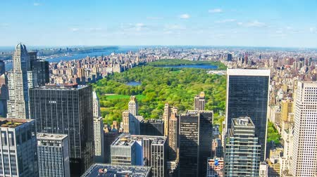 américa central : Cinemagraph loop of Manhattan, New York, United States. Aerial view of the buildings and skyscrapers and central park of mid-town Manhattan, New York, United States.