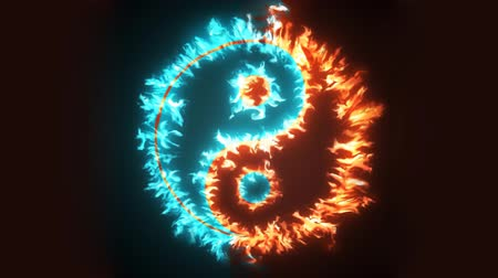 yaşama gücü : Yin and Yang symbol on red and blue fire. Concepts of: the bad inside the good and the good inside the bad in life, opposites, dark side, good and bad. Cinemagraph loop background.