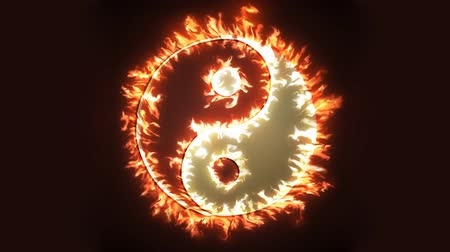 oposto : Yin and Yang symbol on fire. Concepts of: the bad inside the good and the good inside the bad in life, opposites, dark side, good and bad. Cinemagraph loop background. Stock Footage