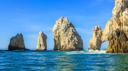 cabo san lucas : Los Arcos rock formation at Lands End in Cabo San Lucas, Baja California Sur, Mexico. Cinemagraph loop background. Stock Footage