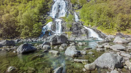 tvindefossen : Cinemagraph loop background of Tvindefossen waterfall in Norway, Europe. Stock Footage
