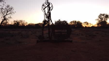 australian landscape : Alice Springs, Northern Territory, Australia - Aug 29, 2019: details of commemorative sculpture of Roger 2006-2018, huge red kangaroo bodybuilder star of a TV series on The Kangaroo Sanctuary.