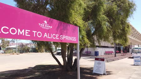 afghan : Alice Springs, Northern Territory, Australia - Aug 29, 2019: welcome sign of The Ghan, the legendary train in Alice Springs Train Station.
