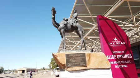 legendary : Alice Springs, Northern Territory, Australia - Aug 29, 2019: The Ghan Memorial: statue of Afghan worker and camel and arrival of legendary train The Ghan in Alice Springs Train Station. Stock Footage
