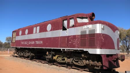 legendary : Alice Springs, Northern Territory, Australia - Aug 29, 2019: Old historic Ghan Australian iconic luxury passenger train stopped at Alice Springs station on Adelaide-Darwin route.