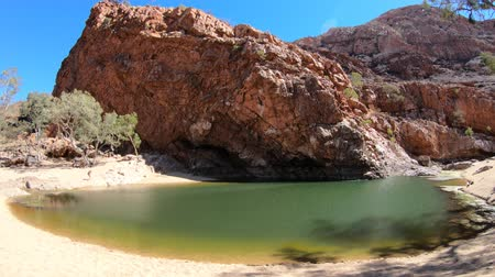 west macdonnell national park : wide panorama of Ormiston Gorge Water Hole with ghost gum in West MacDonnell Ranges, Northern Territory, Australia. Ormiston Gorge is a great place to swim or see the high walls of gorge and pound.