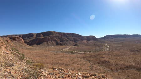 australian landscape : Northern Territory, Central Australia Outback. Aerial view from viewpoint of Ormiston Pound walk, a 3 hr circular walk in West MacDonnell Ranges National Park. Mount Sonder on background.