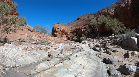 west macdonnell national park : Crossing the dry creek bed with high cliffs during Ormiston Pound walk, a popular circular walk. West MacDonnell Ranges in Northern Territory, Central Australia Outback.