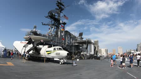 cold war : San Diego, Navy Pier, California, UNITED STATES - August 1, 2018: NAVY jet fighter of the battleship Midway at San Diego memorial site. National historic and patriotic landmark.