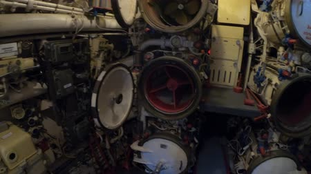 cold war : San Diego, Navy Pier, California, USA - August 1, 2018: Arsenal room with torpedoes of CCCP Soviet Submarine B-39 at San Diego. Historic naval vehicle of the URSS cold war in 1970s. Maritime Museum. Stock Footage