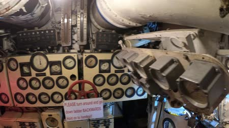 u boats : San Diego, Navy Pier, California, USA - August 1, 2018: detail of levers and speedometers in the diesel engine room of CCCP Soviet Submarine B-39 at San Diego. Tourist attraction in Maritime Museum.