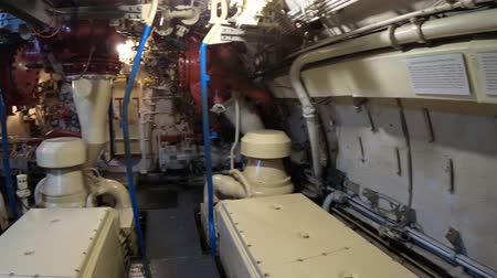 u boats : San Diego, Navy Pier, California, USA - August 1, 2018: diesel-electric engines room of CCCP Soviet Submarine B-39 at San Diego. With measurement instruments. Maritime Museum. Stock Footage