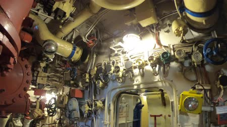 navy pier : San Diego, Navy Pier, California, USA - August 1, 2018: machine room of CCCP Soviet Submarine B-39 at San Diego. Historic naval vehicle of the URSS cold war in 1970s. Maritime Museum.
