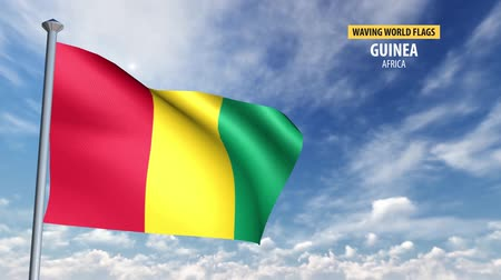 gine : 3D flag animation of Guinea