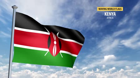 kenia : 3D flag animation of Kenya Wideo