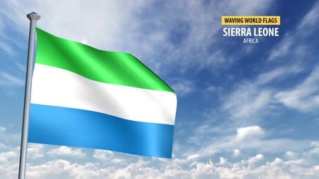 sierra leone flag : 3D flag animation of Sierra Leone.mp4