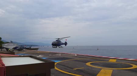 heliport : Fontvieille, Monaco - October 01, 2016: Helicopter Landing Platform on the Above the sea in the Monte Carlo International Heliport (Monaco Heliport) in Monaco, French Riviera