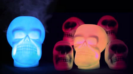 defin : Spooky Skulls In Light - Resolution 4K Ultra HD UHD Stok Video