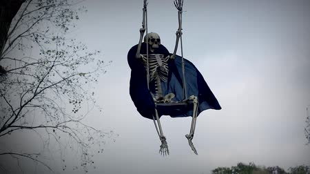 temető : Funny Skeleton On Swing