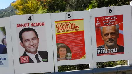 socialist republic : La Turbie, France - April 17, 2017: Electoral Posters In The Streets For The French Presidential Election Of 23 April 2017 - 4K Video