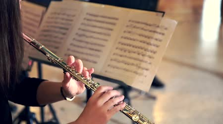 woodwind : Woman Musician Plays the Flute. Flutist Professionally Playing the Flute in the Orchestra, Classic Music