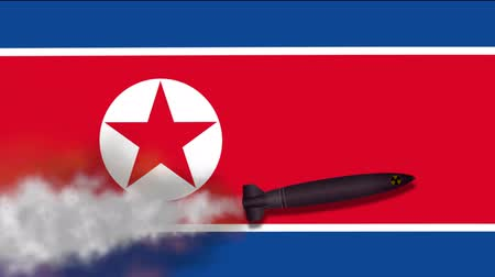 north korean flag : Nuclear Missile on the Background Flag of North Korea. Weapons of Mass Destruction. Missiles With Warheads - 4K Animation