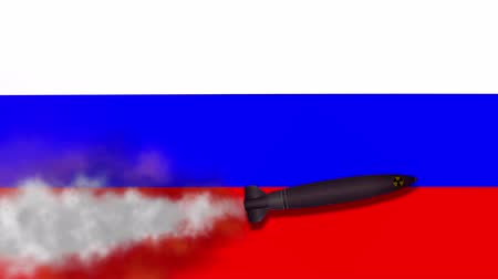 veszélyeztetett : Nuclear Missile on the Background Flag of Russia. Weapons of Mass Destruction. Missiles With Warheads - 4K Animation