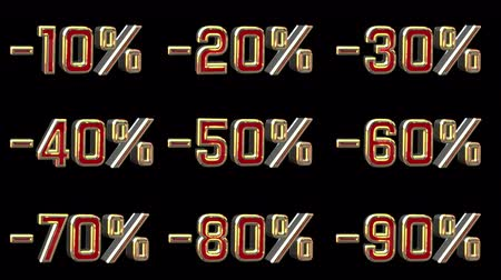 číslo : Different Numbers With Percentage Discount. Red And Gold 3D Animation Numbers With Black Background - 4K 3D Animation