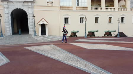 sovereign military : Monaco-Ville, Monaco - November 19, 2017: Guard of the Prince Carabinieri Company (Princes Company of Carabiners) Princes Palace of Monaco - 4K Video