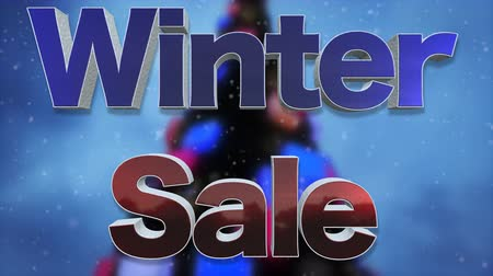 barganha : Winter Sale 3D Text Looping Animation. Beautiful Metal And Snow Text Effect With Falling Snow And Christmas Blurred Tree Background - 4K Resolution Ultra HD