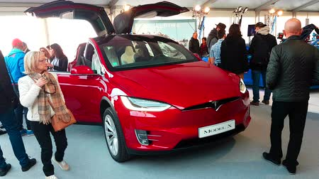 tesla motors : Monte-Carlo, Monaco - February 18, 2018: The New Tesla Model X on Display During the Siam 2018 (Monaco Motor Show). Tesla Model X is a Luxury Full-Sized SUV, All-Electric Crossover - 4K Video