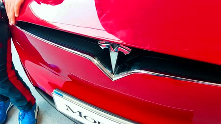 tesla motors : Monte Carlo, Monaco - February 18, 2018: Tesla Motors Logotype on Red Model X Electric Luxury SUV. Close-Up Front View - 4K Video Stock Footage