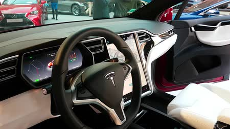 tesla model s : Monte-Carlo, Monaco - February 18, 2018: The Interior of a Tesla X Electric Car Model With Large Touch Screen Dashboard. Full-Sized, All-Electric, Luxury, Crossover SUV - 4K Video