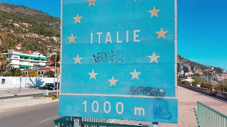 refugee crisis : Menton, France - November 19, 2017: Border Sign European Union. France Border, Crossing From Menton to Ventimiglia - 4K Video