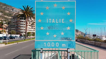 refugee crisis : Menton, France - November 19, 2017: Border Sign European Union. France� � Italy Border, Crossing From Menton to Ventimiglia - 4K Video Stock Footage