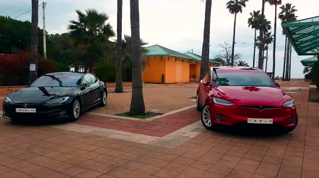 tesla model s : Menton, France - March 3, 2018: - Luxury Black Tesla Model S And Red Tesla X Model Electric Cars Parked on a Square in Menton on The French Riviera - 4K Video Stock Footage