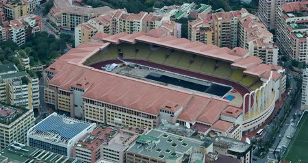 french team : Fontvieille, Monaco - May 17, 2018: Aerial view of Louis II Stadium, The Stadium is Located in the Fontvieille District. Home of Monaco and the Monaco National Football Team - DCi 4K Resolution