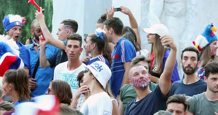 french team : Menton, France - July 15, 2018: 2018 FIFA World Cup Russia: France Celebrate In Menton Supporters After Winning The World Cup With 4-2 Victory Over Croatia - DCi 4K Resolution Stock Footage