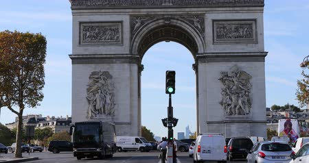 arch of triumph : Paris, France - October 16, 2018: Arc De Triomphe And Street Traffic On The Champs Elysees In Paris, France, Europe - DCi 4K Resolution