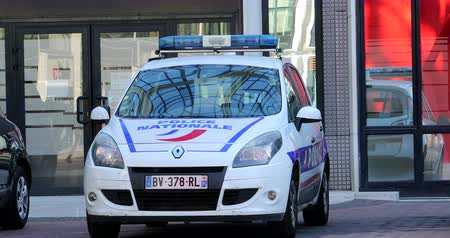 police sign : Paris, France - October 16, 2018: French Police Car Scenic Renault 3 Parked In Front Of The Police Station. District Defense, Europe - DCi 4K Resolution
