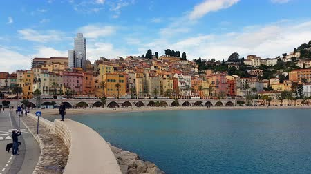 menton : Menton, France - November 3, 2018: Colorful Houses And Beach Of Menton Old Town In Autumn, Mediterranean Sea, Menton, French Riviera, Europe - 4K Resolution