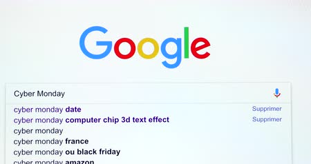 monção : Paris, France - November 20, 2018: Google Search Search Engine For Words Cyber ??Monday In Googles Search Bar. Google.com Homepage. Close Up View Of A Screen Monitor Computer - DCi 4K Resolution