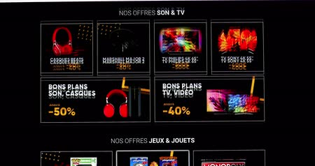 Paris, France - November 20, 2018: Black Friday Deals And Sales For Cultural And Electronic Products, Close Up View Of A Computer Monitor Screen Showing The French Website Fnac.com - DCi 4K Resolution
