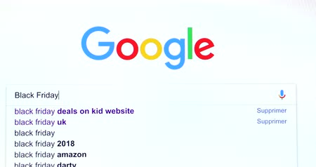 Paris, France - November 20, 2018: Google Search Search Engine For Words Black Friday In Googles Search Bar. Google.com Homepage. Close Up View Of A Screen Monitor Computer - DCi 4K Resolution Dostupné videozáznamy