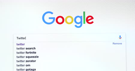 Paris, France - November 20, 2018: Google Search Search Engine For Word Twitter (Twitter.com) In Googles Search Bar. Close Up View Of A Screen Monitor Computer - DCi 4K Resolution