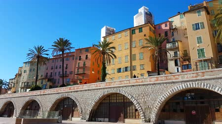 menton : Menton, France - November 26, 2018: Colorful Houses In The Old Town Of Menton In The Morning, French Riviera, France, Europe - 4K Resolution Stock Footage